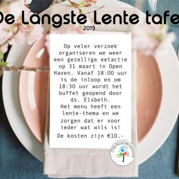 31 maart: Langste Lentetafel in  Open Haven